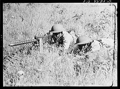 TITLE:  Fort Riley, Kansas. Cavalrymen manning a 50 caliber machine gun<br /> <br /> <br />  LC-USW3- 004522-D