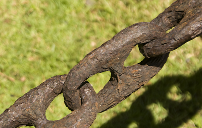 Rusty Chain - rust and mold, fast-growing results of tropical life  North Shore, Oahu, Hawaii