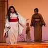 Soprano Latonia Moore is Cio-Cio San, mezzo-soprano J'Nai Bridges is Suzuki and Charlie Wattson  (background) is Trouble in San Diego Opera's MADAMA BUTTERFLY (April, 2016). Photo by J. Katarzyna Woronowicz.