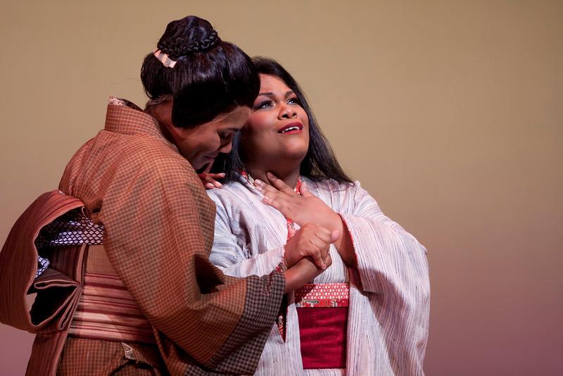 Mezzo-soprano J'Nai Bridges is Suzuki and soprano Latonia Moore is Cio-Cio San in San Diego Opera's MADAMA BUTTERFLY (April, 2016). Photo by J. Katarzyna Woronowicz.