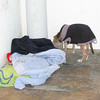 Jaen, his last home on the street. All his blankets and his sweater.