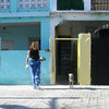 Maite, who took care of jaen for about a year after he was abandoned. Outside where he use to live, in the entryway.
