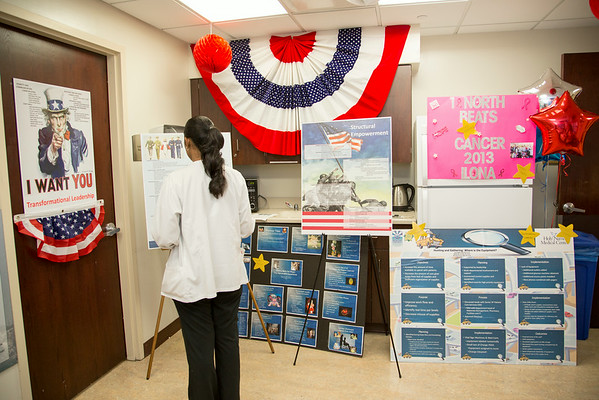 1 North participated in the Open House for MAGNET recognition in Holy Name Medical Center by creating a Patriotic themed room with information on patient care at HNMC. 7/24/14  Photo by Victoria Matthews/Holy Name Medical Center