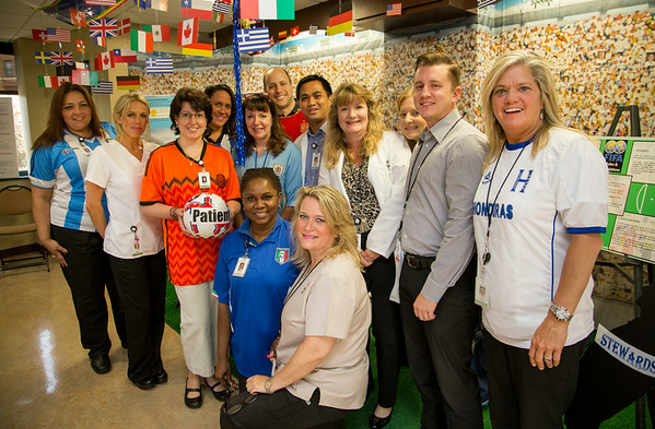 """The Interventional Radiology Department participated in the Open House for MAGNET recognition in Holy Name Medical Center by creating a """"World Cup"""" themed room at HNMC. 7/25/14  Photo by Victoria Matthews/Holy Name Medical Center"""