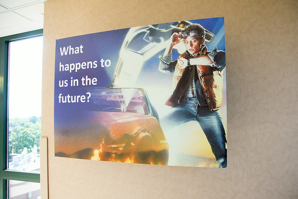 5 Marian participated in the Open House for MAGNET recognition in Holy Name Medical Center by creating a Back to the Future themed room with information on patient care at HNMC. 7/18/14  Photo by Victoria Matthews/Holy Name Medical Center