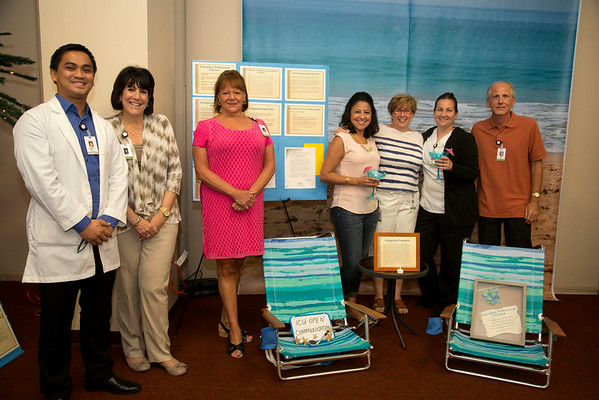 "The ICUparticipated in the Open House for MAGNET recognition in Holy Name Medical Center by creating an educational ""Beach"" themed room at HNMC. 8/1/14  Photo by Jeff Rhode /Holy Name Medical Center"