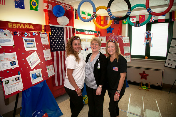 4 Marian participated in the Open House for MAGNET recognition in Holy Name Medical Center by creating an olympic themed room with information on the strokes and the quality of treatment at HNMC. 7/17/14  Photo by Jeff Rhode /Holy Name Medical Center
