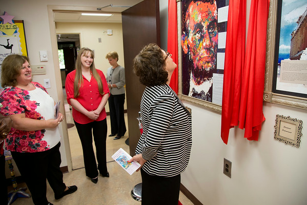"Lobby North participated in the Open House for MAGNET recognition in Holy Name Medical Center by creating an art gallery on the floor that displays ""Monumental Moments"" from the year. <br /> 7/15/14  Photo by Jeff Rhode /Holy Name Medical Center"