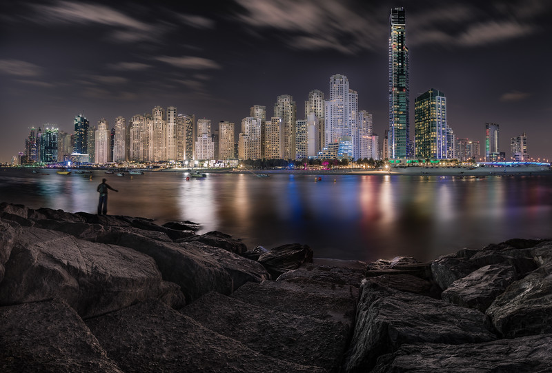 Fisherman at Jumeirah Beach Residence, Dubai.