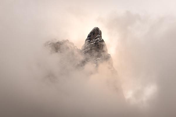Dolomites Peak in the Clouds