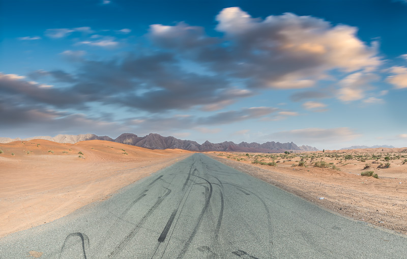 Tyre Marks on Desert Road