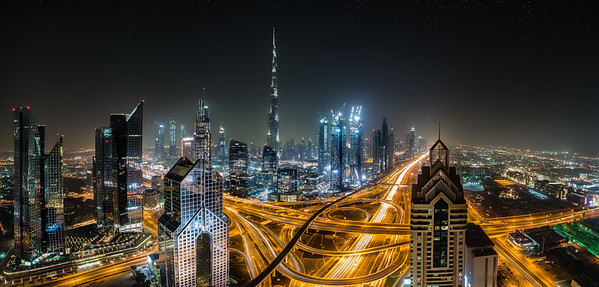 Dubai Skyline - Interchange 1 on Sheikh Zayed Road.