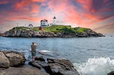 Fisherman at Nubble Light