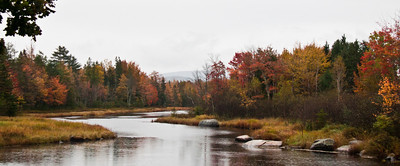 Trenton, Maine, autumn foliage scenery in rain