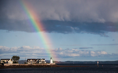 Rainbow over Pendlebury Lighthouse, St. Andrews, New Brunswick Canada. Built in 1833, The St Andrews lighthouse, also called the Pendlebury Lighthouse, is the oldest lighthouse in New Brunswick. For more on the history of this lighthouse visit http://www.lighthousefriends.com/light.asp?ID=1131