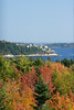 Bay Point, Arrowsic, Maine as viewed from The Wilbur Preserve in Phippsburg Maine on Cox's Head with full autumn foliage