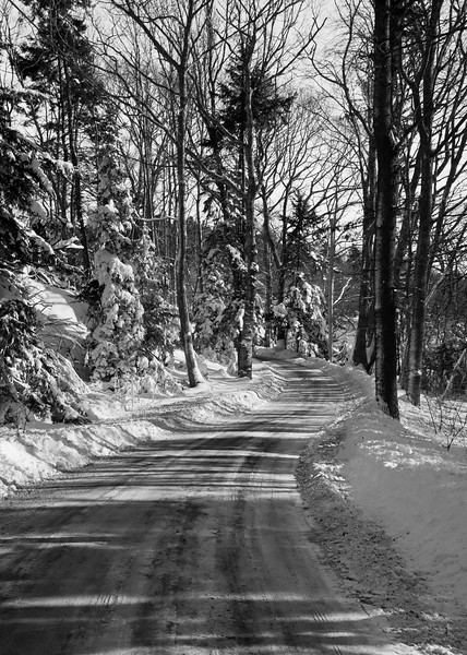 The road to Greenpoint, Phippsburg, Maine on the way to the Wilbur Preserve, after a winter snow storm