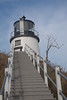 Owl's Head Lighthouse stairs and tower, iconic Maine lighthouse, marine, nautical navigational devices