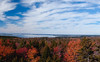 view west to Portland, Maine skyline from Robinson's Rock also known as The Bumper, with fall foliage