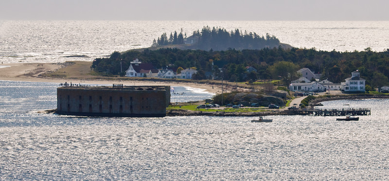 Fort Popham and Popham village, Phippsburg Maine, as seen looking across Atkins Bay from Cox's Head and the Wilbur Preserve Cox's Head, Coxs Head, Wilbur Preserve,