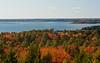 Robinson's Rock, A.K.A., The Bumper, autumn view across Casco Bay to Portland Skyline, Atlantic ocean, Maine scenic