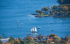 Camden Harbor as seen from Mount Batty State Park, Camden, Maine October, a classic, Maine scenic