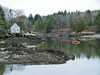 The Branch, Small Point Harbor, red boat, skiff, tender, Marin Island, Phippsburg Maine, spring