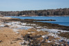 Maine coastal scenic, winter, January, looking north east from West Point across Totman Cove, Casco Bay, Phippsburg, Maine