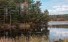 Autumn colors reflected in Winnegance Lake, Phippsburg Maine