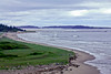 Seawall Beach looking east in spring looking from Small Point, Phippsburg, Maine, beach coastal scenic landscape