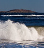 Seguin Island Lighthouse with surf, Popham Beach State Park, Phipppsburg, Maine, Maine scenic