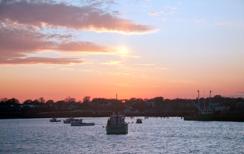 Rockland Harbor, Rockland Maine, sunset, lobster boats