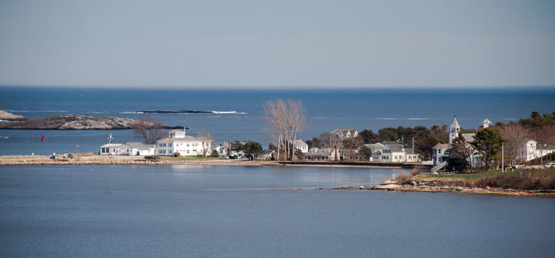 Popham Village as seen from the northwest, looking across Atkins Bay. The Popham Chapel and Spinney's Restaurant can be seen.