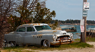 "Buick relic, antique car, ""No Parking,"" Stonington, Maine"