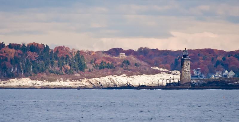 Lighthouse, Ram Island Ledges just out of Portland Harbor, Casco Bay. Fall foliage colors