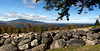 Panoramic view of Moosehead Lake, east end with stone wall in foreground, late September, 2012