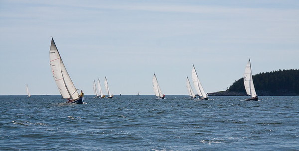 Sailing race, Small Point Yacht Club, Phippsburg, Maine, Casco Bay. Little Wood Island on the right, July 25, Wednesday, 2012