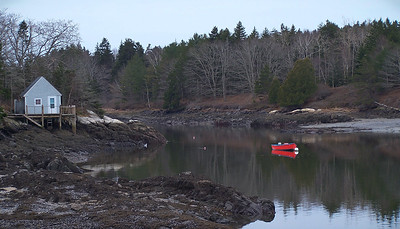 The Branch, Small Point Harbor with red boat, Marin Island on the left (formerly known as Webber Island), Phippsburg Maine