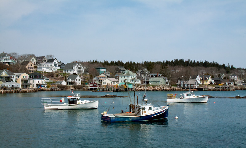 Stonington, Maine lobster boats and waterfront, spring