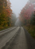 dirt road in morning fog and autumn foliage, Rockwood, Maine, The Northern Road