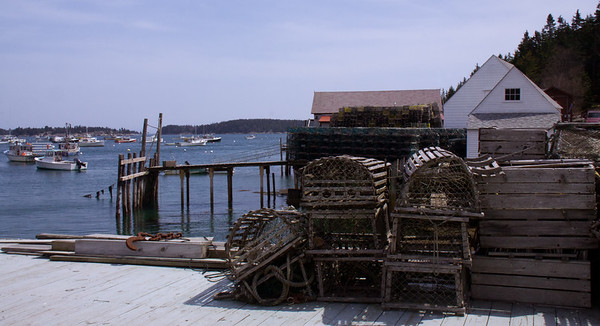Stonington, Maine wooden lobster traps and wharf