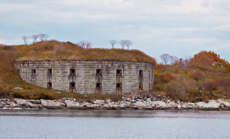 Military bunker made of granite blocks, Casco Bay, Portland Harbor Maine