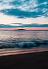 Popham Beach State Park sunrise, PHippsburg Maine with Seguin Island Lighthouse and surf