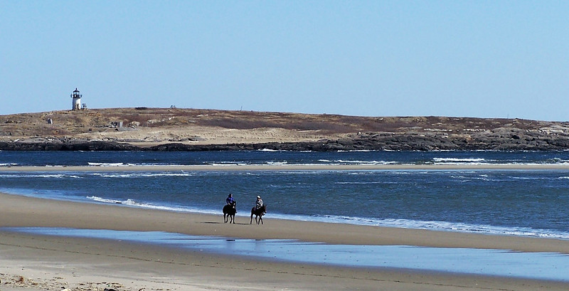 Pond Island Lighthouse, Popham Beach, Phippsburg, Maine, horseback riding