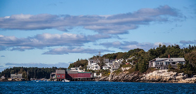 West Point Village, Phippsburg Maine as seen from the sea side, a classic working waterfront