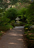 Asticou Garden, pagoda and serene, shaded path, Northeast Harbor Maine