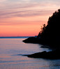 reverse sunset, Casco Bay, Small Point Harbor, Newberry Point, West Point, Phippsburg, Maine scenic, evening with pink sky
