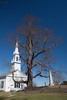 Phippsburg Center Church on the Parker Head Road, Phippsburg Maine. This photo was taken in the early spring so that the structure of th historic English Linden tree can be seen. It is the oldest Linden tree in the United States.