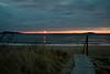 Sunrise, Popham Beach State Park, February 2012, Seguin Island Lighthouse to the right, walkway