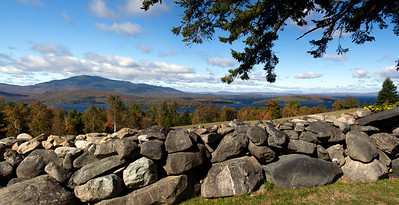 Panorama of the east side of Moosehead Lake and the Longfellow Mountains from Greeville Maine, fall